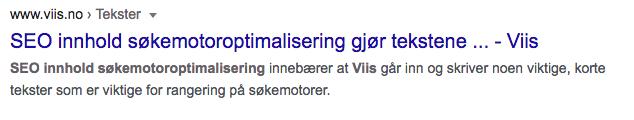 Eksempel Google snippet søkemotoroptimalisering
