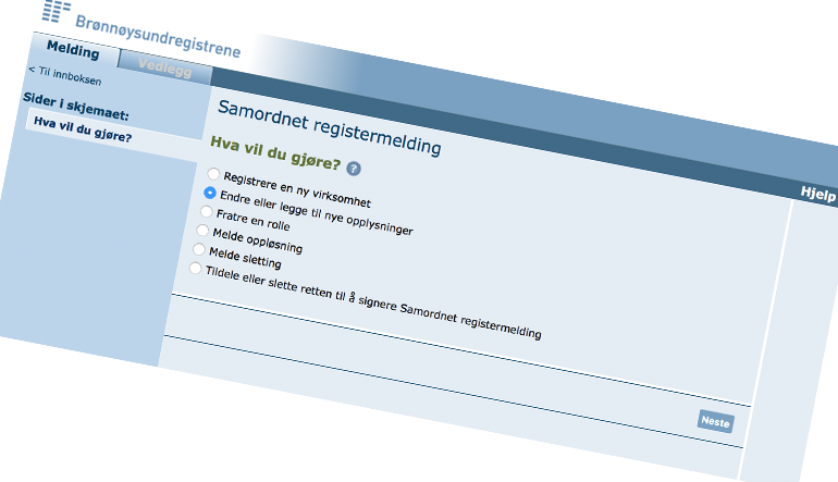Bruk samordnet registermelding for å angi regnskapsfører